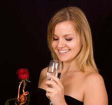 Beautiful Woman Smelling Roses Royalty Free Stock Photos