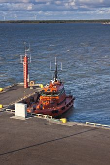 Orange Pilot Boat In Harbour Royalty Free Stock Image