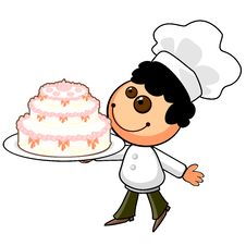Free Cartoon Cook With Holiday Cake Royalty Free Stock Photo - 22626695