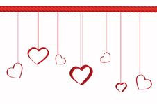 Free Heart Hanging On Red Rope Royalty Free Stock Image - 22628406