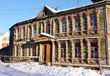 Free Facade Of The Old Wooden Building In Winter Stock Photos - 22629313