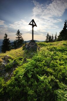 Free Remembering The Climbers - Gravestone On Mountain Stock Image - 22631321