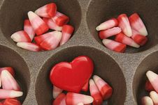 Free Valentine S Day Candy Corn With Red Heart Royalty Free Stock Image - 22632736
