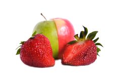Free Two Strawberries And Green Apple Stock Images - 22634844