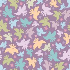 Free Seamless Pattern With Multicoloured Birds Royalty Free Stock Photography - 22636297