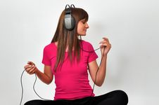 Free Young Womanl With Headphone Stock Photography - 22636592