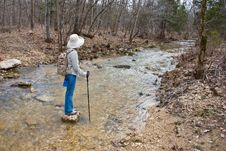 Free Hiker Walking Across A Stream. Royalty Free Stock Images - 22640319