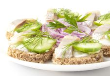 Free Sandwiches With Herring Royalty Free Stock Photography - 22641057