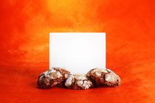 Free Chocolate Cookies With Blank Paper Royalty Free Stock Photos - 22641568