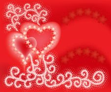 Free Two Hearts On Valentines  Day Royalty Free Stock Images - 22650529