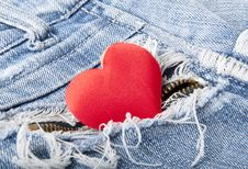 Free Heart In Jeans Royalty Free Stock Photography - 22651197