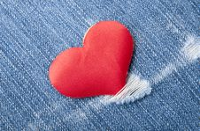Free Heart In Jeans Royalty Free Stock Photography - 22651257