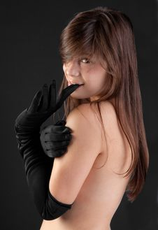 Free Topless Young Woman In Black Gloves Stock Photo - 22654880