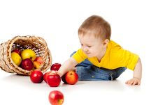 Free Funny Child With Basket Filling Apples Royalty Free Stock Photo - 22658615