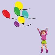 Free Girl With Ballons Stock Photos - 22662643