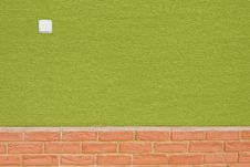 Free Green Wall With Bricks On Bottom And White Switch Stock Photography - 22665122