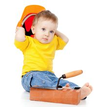 Free Child With Hard Hat And Construction Tools Stock Photo - 22665360