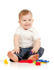 Free Cute Little Child Playing With Toys Royalty Free Stock Images - 22665549