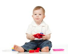 Free Cute Little Child Playing With Toys Stock Images - 22665574