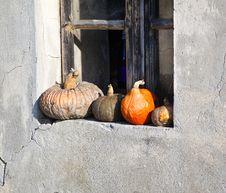 Free Pumpkins On A Windowsill. Royalty Free Stock Image - 22667906