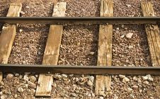 Free Railway Line With Wooden Sleepers And Gravel Royalty Free Stock Photography - 22668347