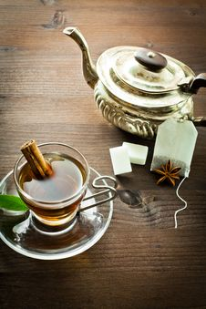 Free Hot Tea And Old Tea Pot Stock Image - 22669581