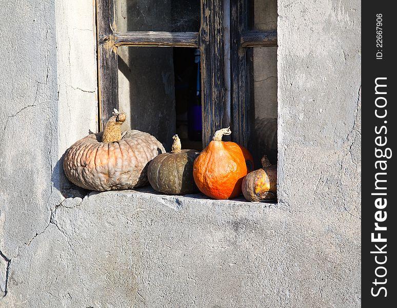 Pumpkins on a windowsill.