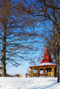Free Wooden Arbor In Park In The Winter Royalty Free Stock Image - 22671186
