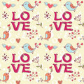 Free Love Seamless Texture With Flowers And Birds Royalty Free Stock Photography - 22673697