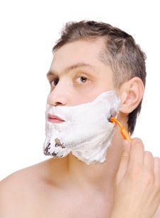 Free Young Man Shaving Royalty Free Stock Image - 22673436