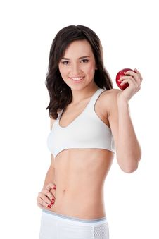 Free Yound Fit Girl Holding Red Apple Royalty Free Stock Photos - 22677898