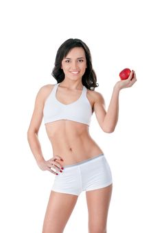 Free Yound Fit Girl Holding Red Apple Stock Image - 22677901