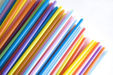 Free Colorful Straws On White Background Stock Photography - 22678122