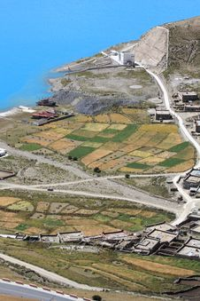 Small Village Near Yamdrok Lake Stock Image