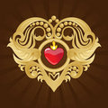 Free Golden Heart And Banner On Red Halftone Royalty Free Stock Photo - 22683645