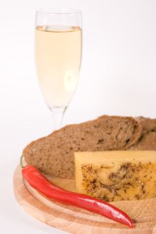 Free Bread, Cheese And A Glass Of White Wine Royalty Free Stock Photography - 22681897