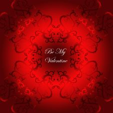 Free Valentine Card Red Flourish Background Stock Photos - 22683973