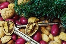 Free Christmas Mixed Nuts With Nut Crackers Stock Photography - 22686742