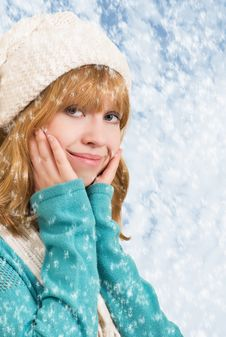 Beautiful Blonde Girl With Snowflakes Royalty Free Stock Photo