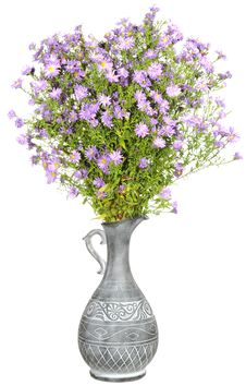 Free Bouquet Of Pink Aster Flowers In Antique Vase Royalty Free Stock Image - 22687996