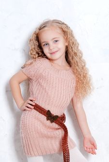 Free Little Girl In Knitted Dress Stock Photo - 22690410