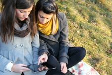 Free Teen Girls With Tablet Pc Royalty Free Stock Images - 22690629