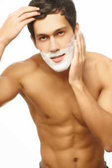 Free Handsome Man Shaving As Part Of Morning Routine Stock Photography - 22691282