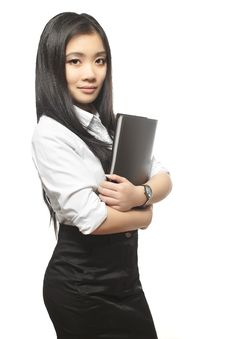 Free Beautiful Sexy Asian Businesswoman With Documents Royalty Free Stock Photo - 22691465