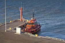Free Orange Pilot Boat In Harbour Stock Photography - 22694452
