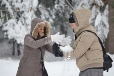 Free Couple Playing With Snow Royalty Free Stock Photo - 22696055
