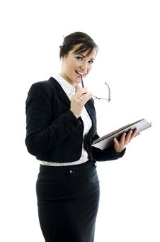Business Woman With Glasses And Notepad Stock Image