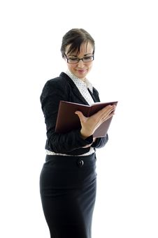 Free Business Woman In Glasses Reading Notepad Royalty Free Stock Images - 22698069