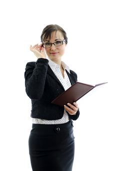 Free Business Woman In Glasses And Notepad Stock Photo - 22698090