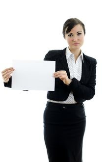 Free Executive Woman With Business Card Stock Photography - 22698222